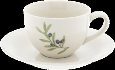 Witte Clayre & Eef Kop en schotel OLGKS Ø 15*7 cm / 0,2L - Blauw Keramiek Servies Koffie Cappucino