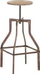 CLP Metall-Barhocker SWANSEA mit Holzsitz im Industrial Look, klassisch, robust & höhenverstellbar, Sitzhöhe 73 - 82 cm