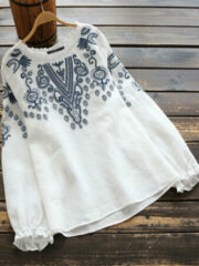 Newchic Embroidery Lace Long Sleeve Plus Size Vintage Blouse