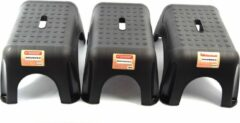 Discountershop 3 xOpstapkrukje -Opstapkrukje/trappetje zwart met anti-slip oppervlak 42 x 29 cm