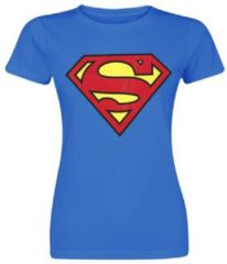 Blauwe DC Comics Superman Classic logo Dames T-shirt Maat XL