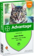 Advantage Kat 40 4 pip - Anti vlooien en tekenmiddel - 0.4 ml 0 - 4 Kg