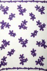 Merkloos / Sans marque Pareo sarong hamamdoek strandlaken wikkeljurk kleur wit met paarse bloemen 165 cm bij 115 cm uit Bali