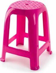 Forte Plastics Opstap krukje/keukenkrukje/verhoger opstapjes fuchsia roze 37 x 37 x 46,5 cm - Keuken/badkamer/kasten opstapjes of krukjes/zitjes