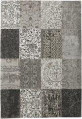 Grijze Louis de Poortere vloerkleden Louis de Poortere Vloerkleed Vintage Kelim Tapijt - Zwart en Wit - 200x280 cm
