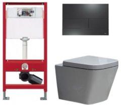 Douche Concurrent Tece Toiletset - Inbouw WC Hangtoilet wandcloset - Alexandria Tece Square Mat Zwart