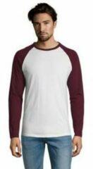 Bordeauxrode T-Shirt Lange Mouw Sols FUNKY LSL Blanco Borgoña