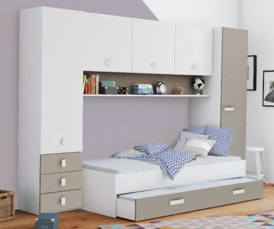 Afbeelding van Young Furniture Eenpersoonsbed Tidy 90x200cm in wit met klei ALL INN
