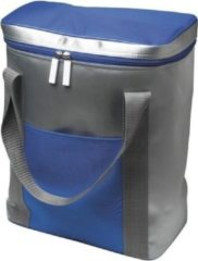 Merkloos / Sans marque Grote koeltas zilver/blauw met hengsels - 15 liter - Koeltassen voor onderweg/op het strand
