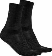Craft - 2-Pack Wool Liner Sock - Multifunctionele sokken maat 40-42, zwart