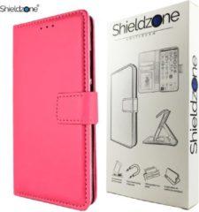 Shieldzone - Portemonnee hoesje voor Huawei P Smart - donker roze