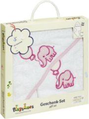 Blauwe Playshoes badcape cadeauset olifant wit roze