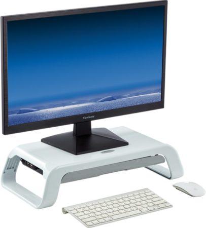 Afbeelding van DESQ® Monitorverhoger in hoogglans wit | 2 hoogte | met lade