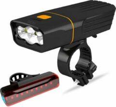 FIEZIO Fietsverlichting Set - Oplaadbare USB Led Fietslamp - Voor en Achter - Waterdicht - 3 Lichtstanden - 1500 Lumen - Zwart