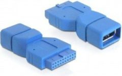 Blauwe DeLOCK 65288 USB 3.0 pin header 19 pin USB 3.0-A Blauw kabeladapter/verloopstukje