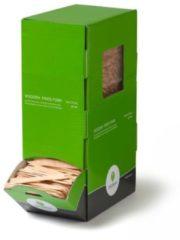 Naturelkleurige Biodore® fritesvork hout FSC 80mm in dispenserdoosje, 2000 stuks