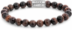 Rebel & Rose Rebel and Rose RR-80029-S Rekarmband Beads Tiger Red zilverkleurig-roodbruin 8 mm XL 21 cm
