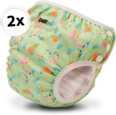 Wasbare zwemluier Bambinex | Oefenbroekje | 2 stuks | Flamingo - maat XS
