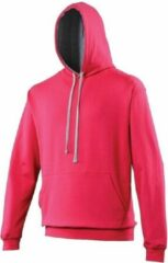 Awdis Hooded sweater roze met grijs 2XL