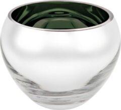 Rawa Geschenken Luxe waxinelicht houder sicore glas - groen gekleurd en zilver - kaarshouder glas- kaarstandaard mondgeblazen