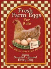 Mooiblik Fresh Farm Eggs For Sale. Metalen wandbord 30 x 40 cm.