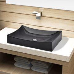 Nero VidaXL Lavandino da bagno in ceramica nera rettangolare
