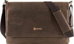 Bruine Corkor laptoptas - Messenger - donkerbruin - vegan - kurk - handmade