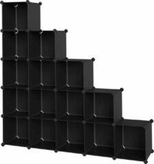 SONGMICS 16 kubusreksysteem, schoenenrek, doe-het-zelf kubusplank, stapelbaar, insteekplank van PP-kunststof, garderobe, scheidingswand, voor slaapkamer, kantoor, zwart LPC44BK