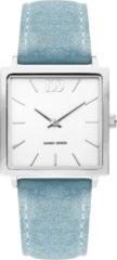 Zilveren Danish Design watches edelstalen dameshorloge Miami Silver Light Blue Suede IV24Q1248