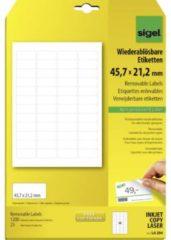 Sigel LA204 Etiketten 45.7 x 21.2 mm Papier Wit 1200 stuk(s) Weer verwijderbaar Universele etiketten 25 vel DIN A4