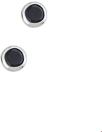 Afbeelding van House of Jewels - Zwarte Zirkonia Oorstekers met Zilver - 4mm