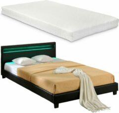 En.casa LED-Ledikant Parijs incl. matras bedbodem 180x200 zwart