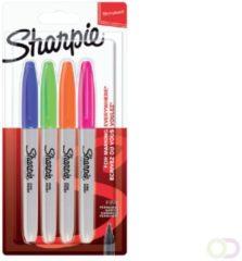 Sharpie permanent marker, fijne punt, blister van 4 stuks, geassorteerde kleuren
