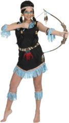 Zwarte Generik Indiaan kostuum met blauwe franjes voor vrouwen - Volwassenen kostuums