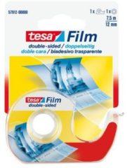 Witte Tesafilm dubbelzijdige plakband, ft 12 mm x 7,5 m, op blister met dispenser