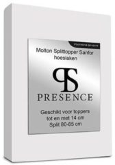 Presence Molton Sanfor Splittopper Hoeslaken - Platinum - 160x200 cm Wit