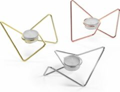 Gouden Black+Blum Triangular Loop Waxinelichthouder - Set van 3 Stuks - 14x14x7 cm - Assorti