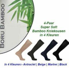 Beige Merkloos / Sans marque 4-Paar Super Soft Bamboe Kniekousen in 4 Kleuren | Maat 39-42