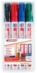 Rode Edding 4-3000-4 Permanent marker Zwart, Rood, Groen, Blauw Ronde vorm 1.5 - 3 mm 4 stuks
