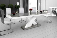 Grijze Hubertus Meble Uitschuifbare Eettafel Xenon 160cm tot 210cm - Hoogglans Grijs met Wit