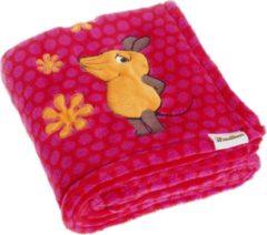 Roze Playshoes fleece babydeken muis fuchsia