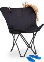 Zwarte Relaxdays Campingstoel - opvouwbaar - vlinderstoel - tuinstoel - relaxstoel - inklapbaar
