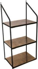 PTMD Beau open wandschap (drie planken) goudkleurige ijzeren frame zwarte maat in cm: 37 x 24 x 77 - Zwart