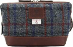 Blauwe The British Bags Company Toilettas Finsbay Leer & Harris Tweed