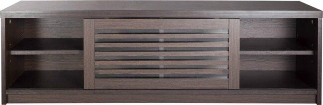 Afbeelding van Donkerbruine VDD TV kast dressoir modern - TV meubel - louvre schuifdeuren - 120 cm breed