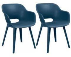 Blauwe Allibert - Akola - Eettafel stoel - 2 stuks - Kunststof - Petrol blue