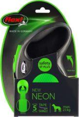 Flexi rollijn new neon tape zwart / neon groen M 5 MTR TOT 25 KG