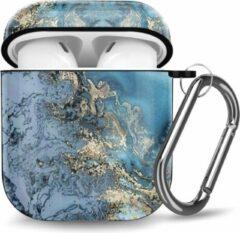 YPCd® Apple AirPods Hoesje - Blauw / Goud - Marmer Hard Case
