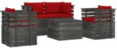 Rode VidaXL 5-delige Loungeset met kussens pallet massief grenenhout VDXL 3061821