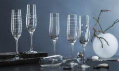 Transparante Elements Champagneglazen - 6 Stuks - Kristal - 190 ml